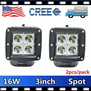 2x 16w Cree Led Pod Lights Spot Beam Driving Work Fog Light 3inch Cube 12v24v 24
