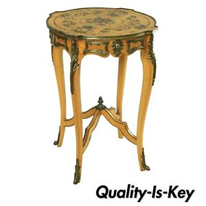 Vintage French Louis Xv Style Floral Side Table Brass Figural Ormolu Burl Wood