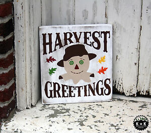 Large Primitive Handmade Wooden Sign Harvest Greetings Fall Rustic Distressed
