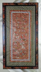 Beautiful Estate Vintage 101 Chinese Children Embroidery Art On Copper Fabric