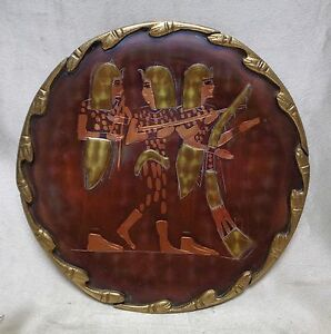 Estate Antique Wall Hanging Copper Plate W Engraved Egyptian Goddesses Scenery