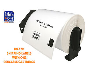 4 Rolls Of Dk 1241 Brother compatible Shipping Labels With 1 Reusable Cartridge