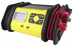 10 Amp 12v Battery Charger Maintainer Car Truck Riding Mower Boat