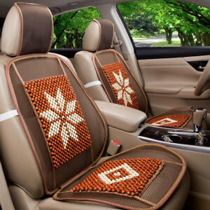 2 Pieces Wooden Round Balls Massage Car Seat Cover Front Seat Chair Mat Cool
