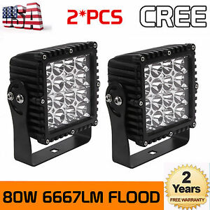 2x 80w Cree Led Work Light Flood Beam Round Fog Off road Jeep Square 4wd 5 3inch