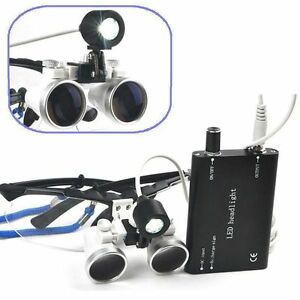 Black Dental Surgical Medical Binocular Loupes 2 5x 420mm led Head Light Lamp Aa