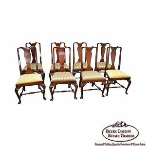 Custom Set Of 8 Solid Mahogany 18th Century Style Queen Anne Dining Chairs