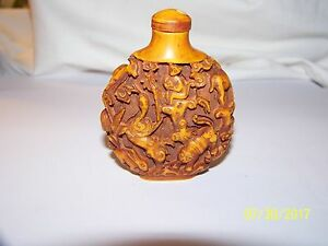 Old Handcarved Snuff Bottle Out Of Bovine Bone From China 2 7 H 2 5 W 75 T