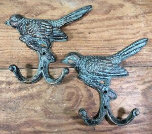 2 Bird On Branch Double Hooks Hat Wall Rustic Cast Iron Antique Vintage Style