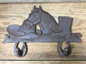Horse Hat Boot Western Cast Iron Coat Hooks Wall Rustic Antique Vintage Style