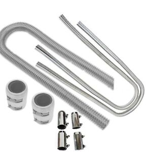 48 Stainless Steel Flexible Radiator 44 Heater Hose Kit With Clamp Covers