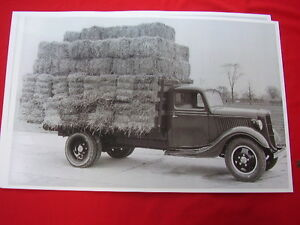 1936 Ford Flat Bed Farm Truck Load Of Hay 11 X 17 Photo Picture