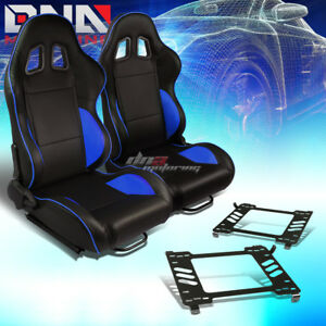 Pair Black Pvc Reclinable Blue Line Racing Seat bracket Fit 05 14 Ford Mustang