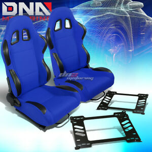 2x Black Blue Cloth Reclinable Type R Racing Seat Bracket Fit 91 95 Honda Civic