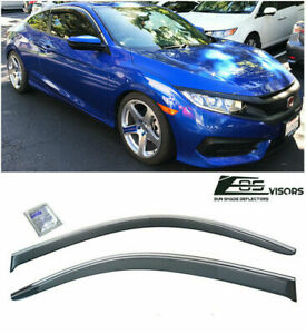 Side Window Visors Tape On For Honda Civic 2016 up 2dr Coupe Smoke Vent Jdm