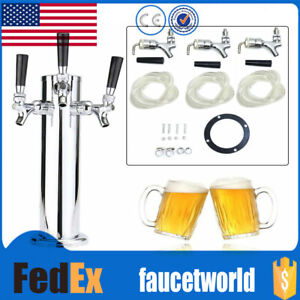 Stainless Steel Triple 3 Tap Faucet Draft Beer Tower Homebrew Bar For Kegerator