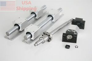 1 Set Ballscrew Ball Screws Rm1605 300mm bk bf12 nut Housing sbr20 300mm sbr20uu