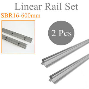 Rail Dia 16mm 2pc Sbr16 600 Shaft Rod For Cnc Linear Motion Fully Supported