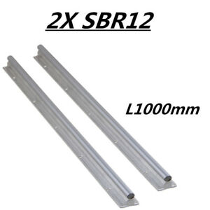 For Cnc 2pcs New Sbr12 1000 Fully Supported Linear Rail Shaft Rod Slide Guide