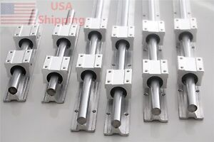 Linear Slide Guide Sbr16 300 600 1000mm 6 Rail With 12 Sbr16uu Bearing Block Cnc
