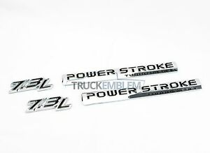 2 New Chrome 2017 Style 7 3l F250 F350 Powerstroke Door Badges Emblems