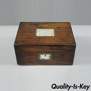 Rosewood Mother Of Pearl Inlay Sewing Box Jewelry Table Desk English Victorian