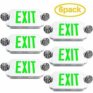 Etoplighting Lighted Exit Signs Packs Of Led Green Sign Emergency Combo With
