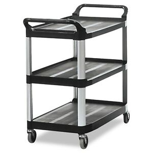 Rubbermaid Commercial 409100 Bla Xtra Service And Utility Cart 3 shelf Open s