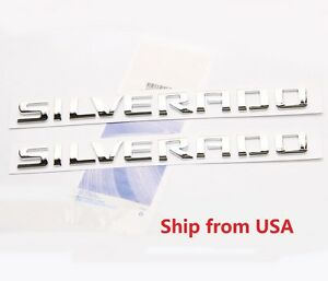 2x Oem Gm Chevy silverado Chrome Emblems For Door Decal On Nameplate Fu