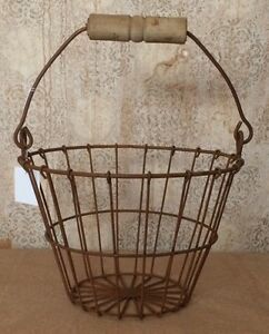 Primitive Country Rusty Wire Basket W Wood Handle