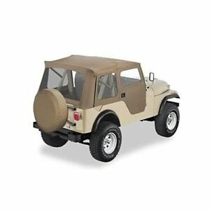 Bestop 51595 04 Soft Top Supertop Polymer Cloth Tan For 1953 1975 Jeep M38a1 cj5