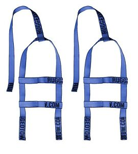 Two 2x Blue Demco Kar Kaddy Mini Tow Dolly Straps Rugged Weave Axle W Loops