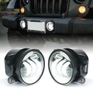 Xprite 4 Round Led Offroad Fog Lights Drl Lamp For 07 18 Jeep Wrangler Jk Tj Cj