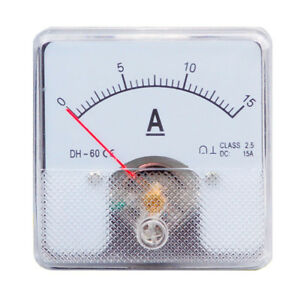 1pc Class 2 5 Analog Panel Amp Current Meter Dc 0 15a Ammeter Dh 60 60 60