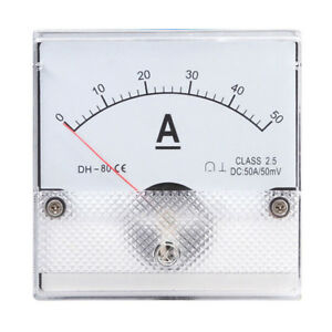1pc Square Analog Panel Amp Current Meter Dc 0 50a Ammeter Gauge Dh 80 80 80