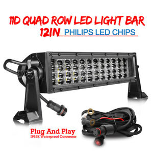 10d Quad Row Led Light Bar 480w Philips Spot Flood Combo 6000k Driving Atv 12 In