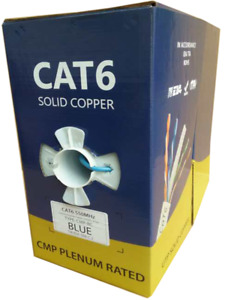 Bulk 1000 Ft Plenum Cat6 100 Solid Copper Utp Cat 6 Cable Blue White