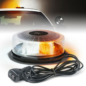 Xprite Amber White 24 Led Rooftop Flash Strobe Light Rotating Emergency Beacon