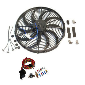 16 Electric Curved Blade Reversible Cooling Fan 12v 3000cfm With Thermostat Kit