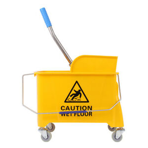 20l Commercial Wet Mop Bucket Wringer Combo Yellow Janitorial