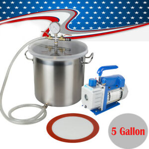 3cfm 1 3hp Vacuum Pump W 5 Gallon Vacuump Chamber Silicone Degassing Expoxy Kit