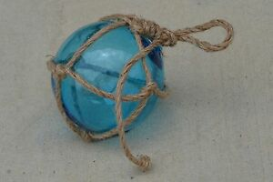 Reproduction Blue Glass Float Ball With Fishing Net 5 F 949
