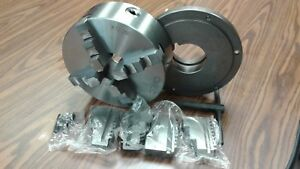 10 4 jaw Self centering Lathe Chuck W L1 Adapter Plate Extra Solid Jaws