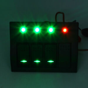 4 Gang Waterproof Rocder Switch Panel Ip68 Breaker Panel Led Backlight Boat Rv