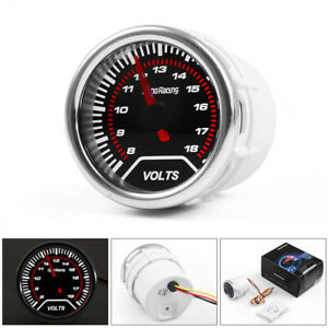 2 52mm Led Pointer Auto Car Volt Meter Voltmeter Voltage Gauge Smoke Face 8 18v
