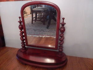 Victorian Solid Mahogany Table Top Dressing Shaving Mirror Spiral Turned Post