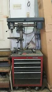 Craftman 34 Inch Radial Drill Press With Craftsman Cabinet