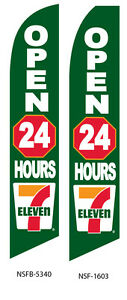 Two 7 eleven Open 24 Hours 15 Foot Swooper Feather Flag Sign