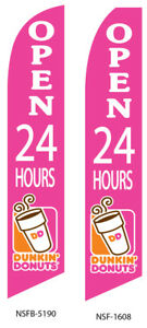 Two Open 24 Hours Dunkin Donut 15 Foot Swooper Feather Flag Sign