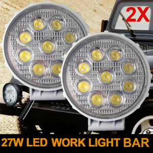 2x 27w Spot Round White Led Work Light Offroad Fog Driving Drl Suv Atv Truck 4wd